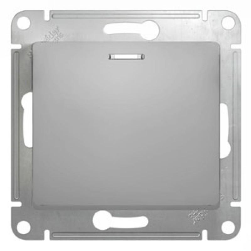 """SCHNEIDER ELECTRIC Glossa Выключатель 1-кл с подсв, 10A 250V, """"алюминий"""" GSL000313"""
