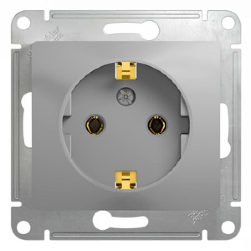 SCHNEIDER ELECTRIC Glossa Розетка 2P+З, 16A 250V, алюминиевая GSL000343