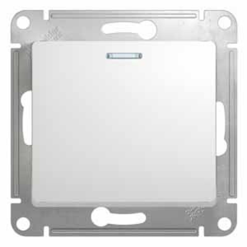 SCHNEIDER ELECTRIC Glossa Выключатель 1-кл с подсв, 10A 250V, белый GSL000113