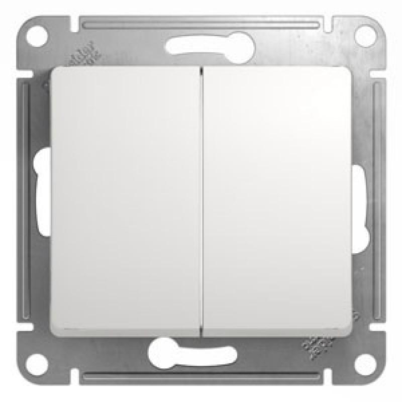 SCHNEIDER ELECTRIC Glossa Выключатель 2-клавишный, 10A 250V, белый GSL000151