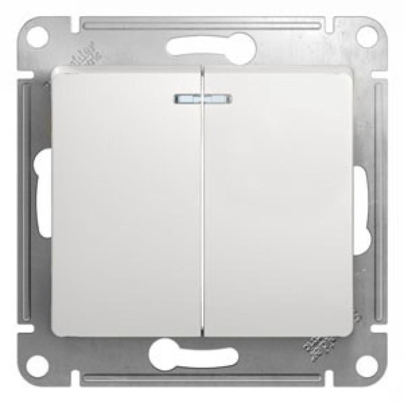 SCHNEIDER ELECTRIC Glossa Выключатель 2-кл с подсв, 10A 250V, белый GSL000153
