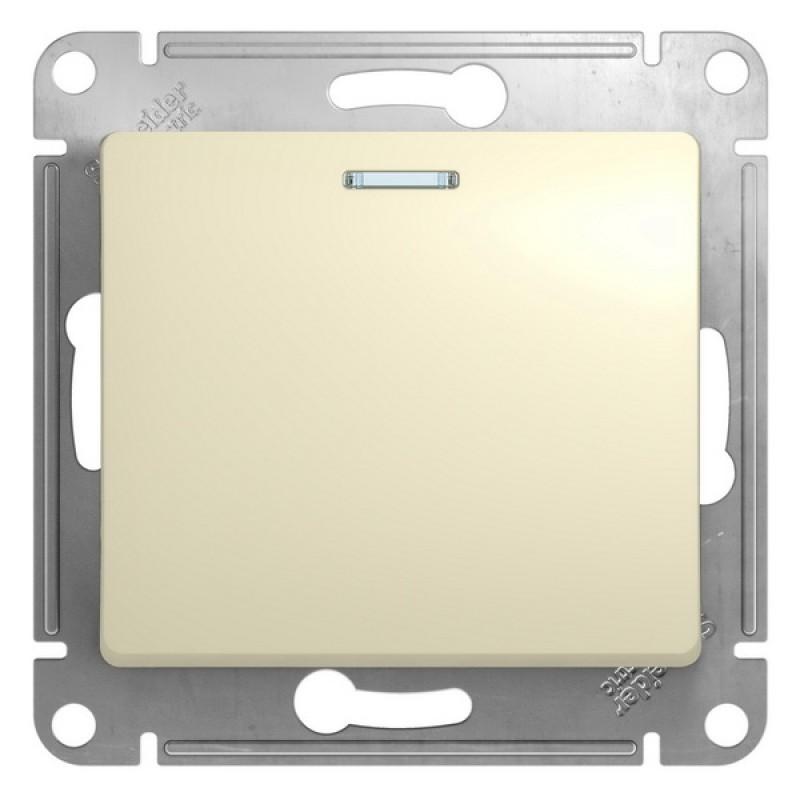 SCHNEIDER ELECTRIC Glossa Выключатель 1-кл с подсв, 10A 250V, бежевый GSL000213