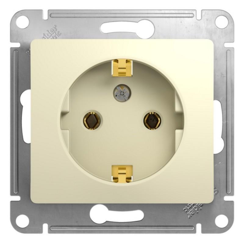 SCHNEIDER ELECTRIC Glossa Розетка 2P+З, 16A 250V, бежевая GSL000243
