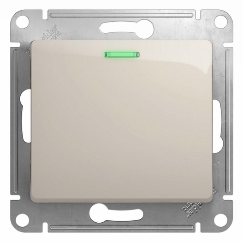 SCHNEIDER ELECTRIC Glossa Выключатель 1-кл с подсв, 10A 250V, молочный GSL000913