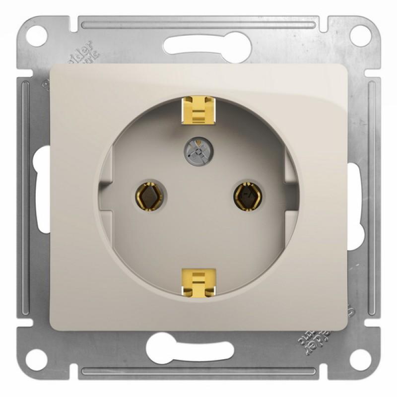 SCHNEIDER ELECTRIC Glossa Розетка 2P+З, 16A 250V, молочная GSL000943