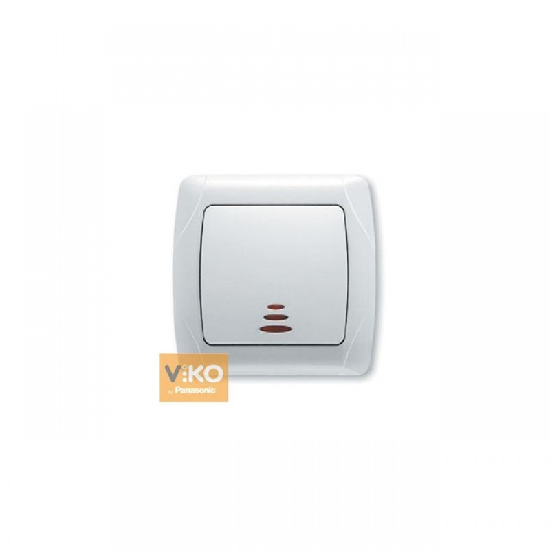 Выключатель VIKO Выключатель Carmen 1-клавишный с подсветкой белый