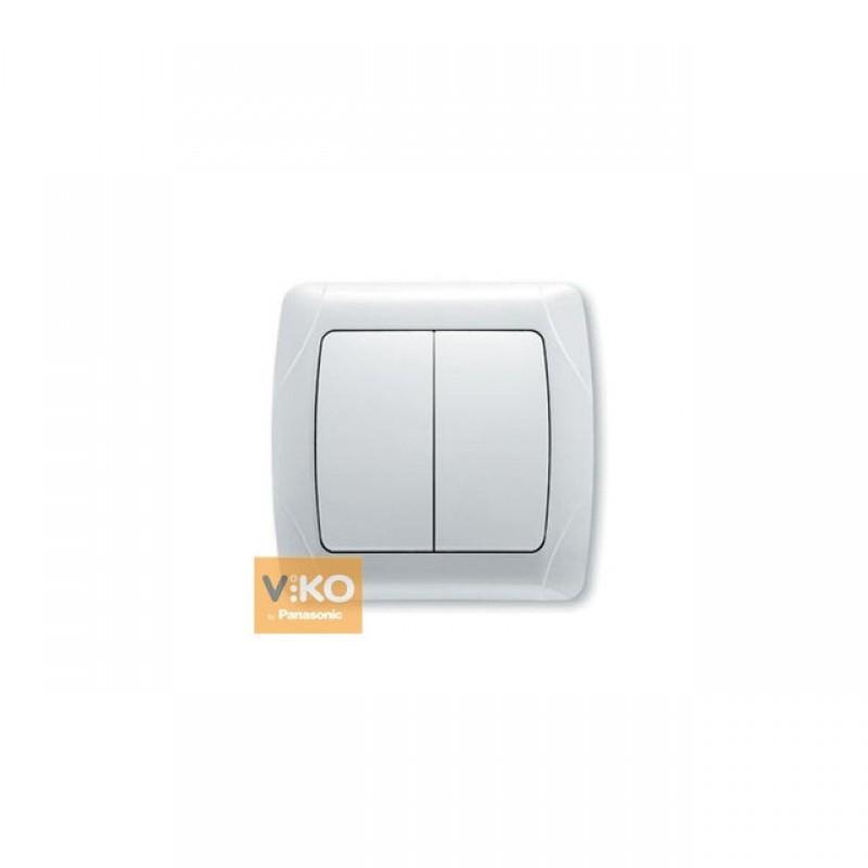 Выключатель VIKO Выключатель Carmen 2-клавишный белый
