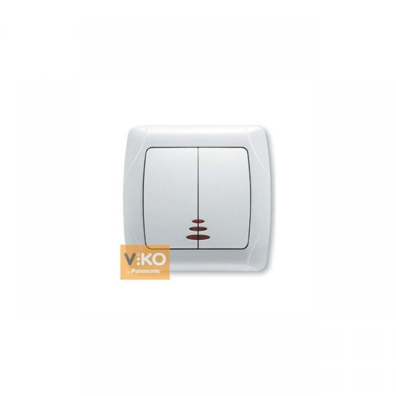 Выключатель VIKO Выключатель Carmen 2-клавишный с подсветкой белый