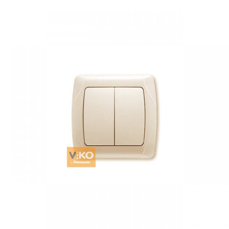 Выключатель VIKO Выключатель Carmen 2-клавишный крем