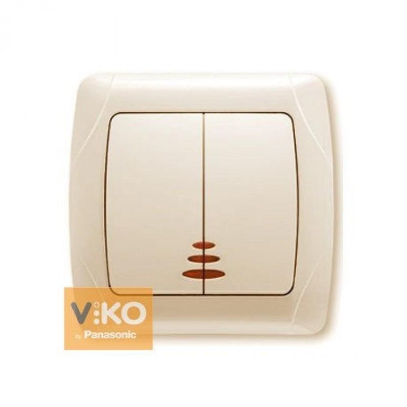 Выключатель VIKO Выключатель Carmen 2-клавишный с подсветкой крем