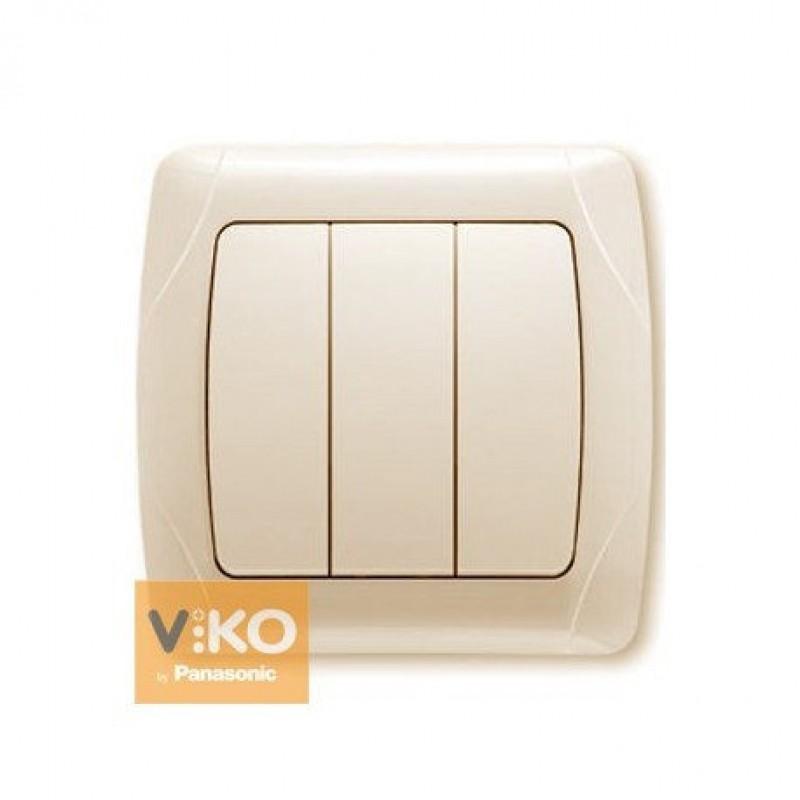 Выключатель VIKO Выключатель Carmen 3-клавишный крем