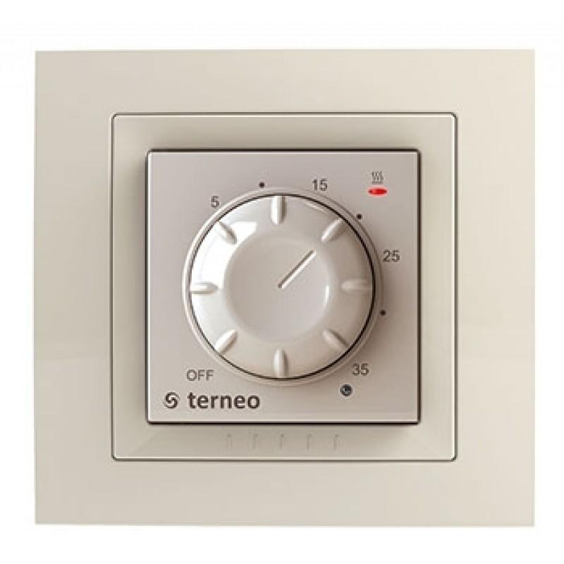 Терморегулятор  со встроенным датчиком Terneo rol unic (слоновая кость)